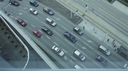 Aerial view of driving cars and street. Wroclaw, Poland