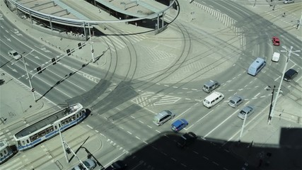 Wroclaw road traffic. Aerial view.