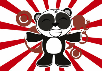 little panda bear cute cartoon background7