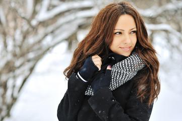 Winter portrait of a beautiful brunette