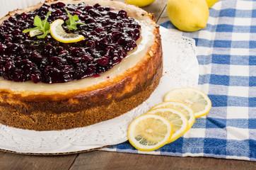 Baked blueberry lemon cheese cake