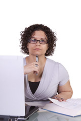 Hispanic Businesswoman at Her Desk Working