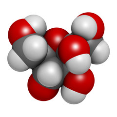 Fructose (D-fructose) fruit sugar molecule.