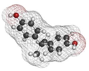 Bisphenol A (BPA) plastic pollutant molecule.