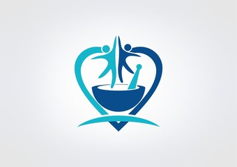 Wellness logo, healthy life  symbol, body fit herb icon