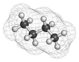 Butane hydrocarbon molecule. Commonly used as fuel gas.