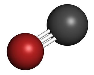 Carbon monoxide (CO) toxic gas molecule.