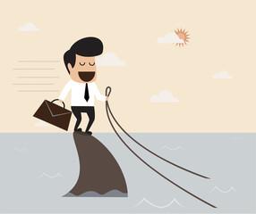 Challenge concept : Business man riding a shark