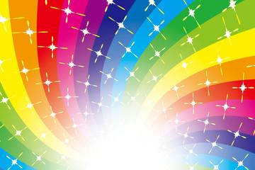 背景素材壁紙(キラキラ星,キラ星,星の模様,放射状,星,星模様,星の図柄,虹,虹色,レインボー,七色,)