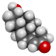Testosterone male sex hormone molecule.
