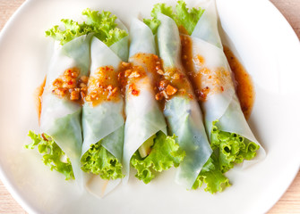 Close up Nam-Neaung in dish,Vietnamese Meatball Wraps.