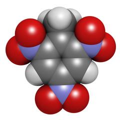Trinitrotoluene (TNT) high explosive molecule.