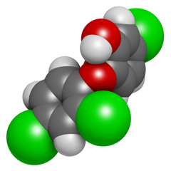 Triclosan antimicrobial molecule. Used in hand soaps, etc
