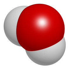 Water (H2O) molecule. Atoms are represented as spheres.