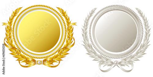 金銀の円形フレーム - 69603038