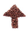 Arrow coffee beans isolated on white