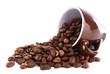 Mug of coffee beans isolated on white