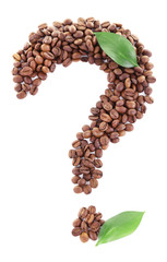 Question mark shaped coffee beans isolated on white