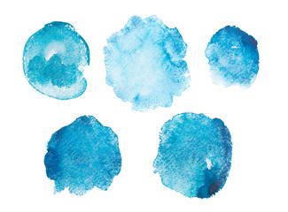 Abstract watercolor aquarelle hand drawn blue art paint splatter