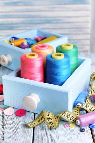 Leinwandbild Motiv Sewing Accessories in wooden boxes