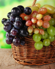 Grapes in basket on natural background