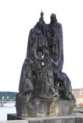 Statue of St. Cyril and St. Methodius. Charles Bridge in Prague.