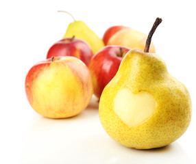 Ripe pear and apple with heart isolated on white