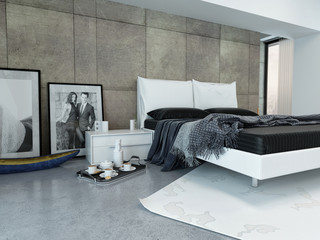Modern Bedroom with Tray Beside Bed