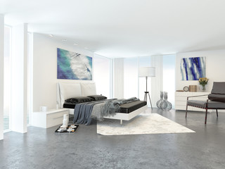Wide View of Bed in Modern Bedroom in Apartment