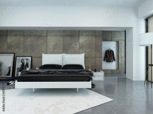 canvas print picture Modernes Luxus Schlafzimmer mit Bett