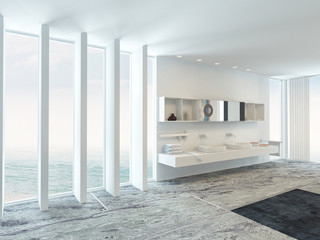 Very spacious bright modern bathroom