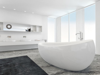 Very spacious bright modern bathroom with bathtub