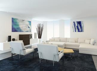 Modern white sitting room interior