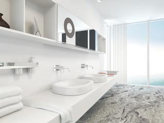 Modern wall mounted double vanity unit