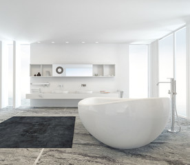 Modern bathroom interior with a freestanding tub