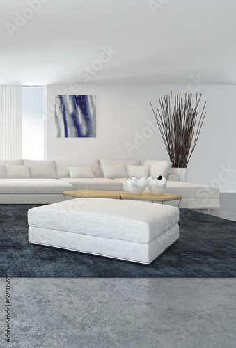 canvas print picture Modern white living room interior
