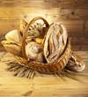 Traditional bread in wicker basket