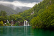 Lake at Plitvice Lakes National Park in Croatia with waterfalls