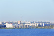 Panoramic sight of city in summer