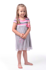 Little girl on a white background