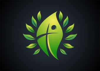 religious,leaf,logo,life,cross,people,nature,wellness,ecology