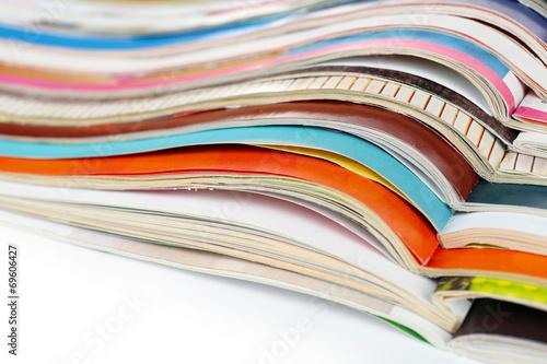 Leinwandbild Motiv Many magazines close up
