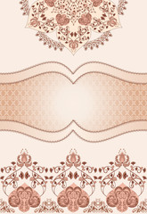 Vintage decorative frame in pink and brown tones