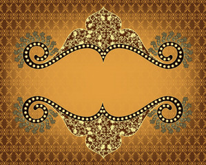 Vintage frame with openwork pattern on yellow brown background