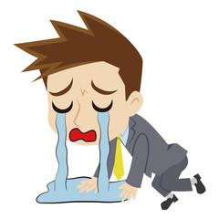 涙に溺れる二頭身ビジネスマン