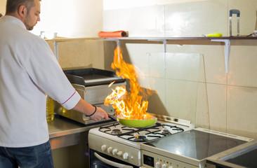 fire in a frying pan