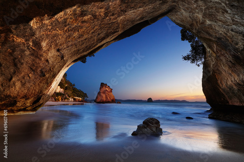 Foto Spatwand Cathedral Cove Cathedral Cove, New Zealand