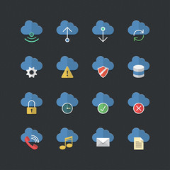 Cloud Computer icons set with Flat color style