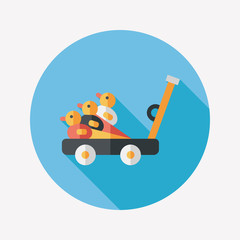 toy duck cart flat icon with long shadow,eps10