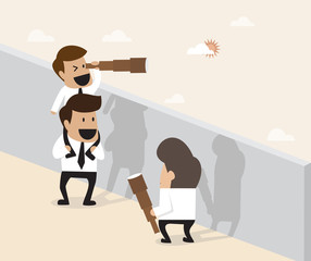 Teamwork concept : Businessman do pyramid acrobatic for ferther